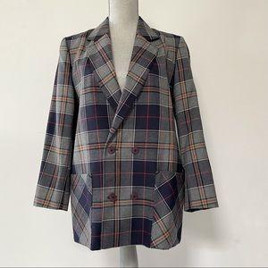 Vintage HBC tartan plaid wool oversized blazer